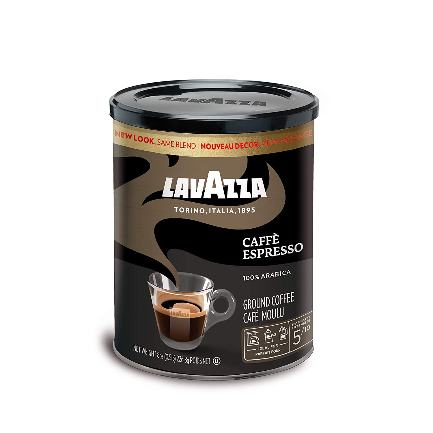 Lavazza Caffe Espresso Ground Coffee Blend, Medium Roast, 8-Ounce Cans,Pack of 4