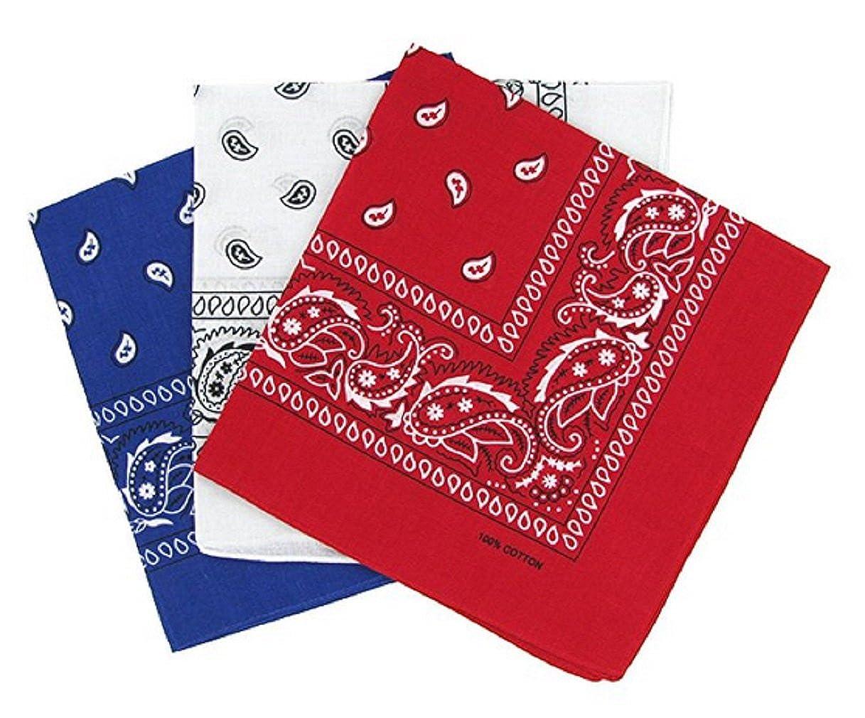 PURECITY© Bandana Original Paisley Motif Cachemire Foulard Pur Coton  Qualité Supérieure Vendu par Lot - a55c172fe66