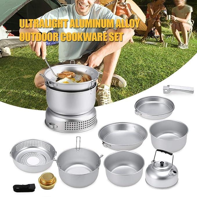 Amazon.com: Lixada1 Juego de cocina portátil para camping ...