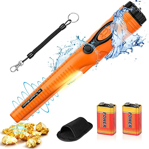 FYSMY Fully Waterproof Pinpoint Metal Detector, Pinpointer with 2-Pack 9V Battery, Gold Hunter Vibration Beep LED Indicator Detector,360 Search Treasure Pinpointing Finder Probe Orange