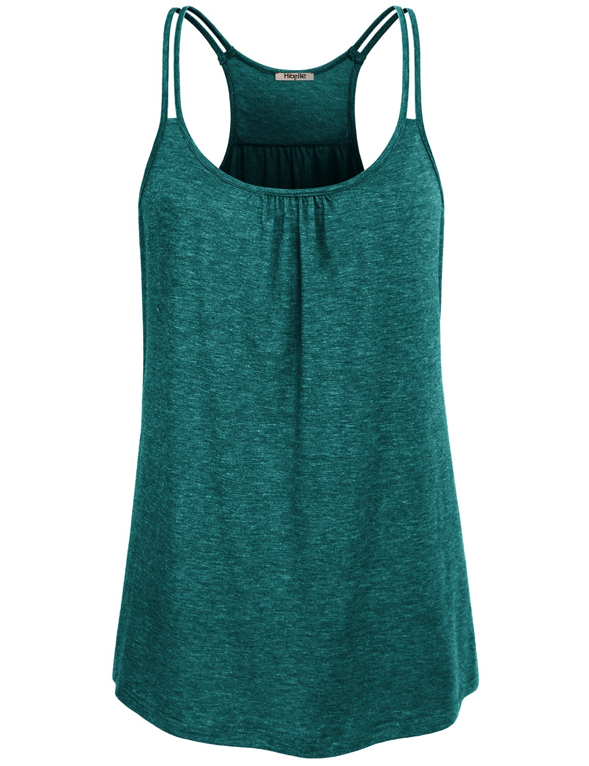 Hibelle Cute Summer Tops for Women, Ladies Dry Fit Shirts Sleeveless Casual Yoga Tank Flowy Curved Hem Dressy Front Ruched Tunic Ribbed Racerback Chic Slim Stitching Cami Green Small