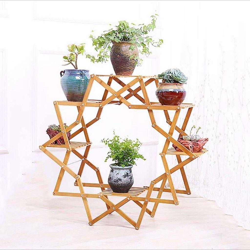 QHD Balcon En Bois Fleur Salon Intérieur Fleur Plante En Pot Européen Plancher En Bois Multi-étagère