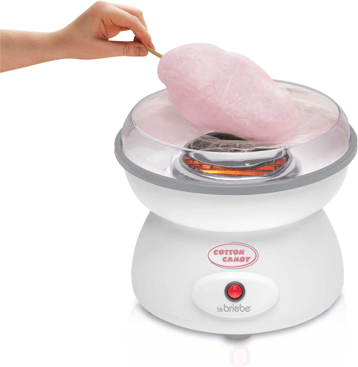 briebe Algodonera Máquina de Hacer algodón de azúcar, Plato de 27 cm, 10 palitos Madera y Cuchara dosificadora: Amazon.es: Hogar