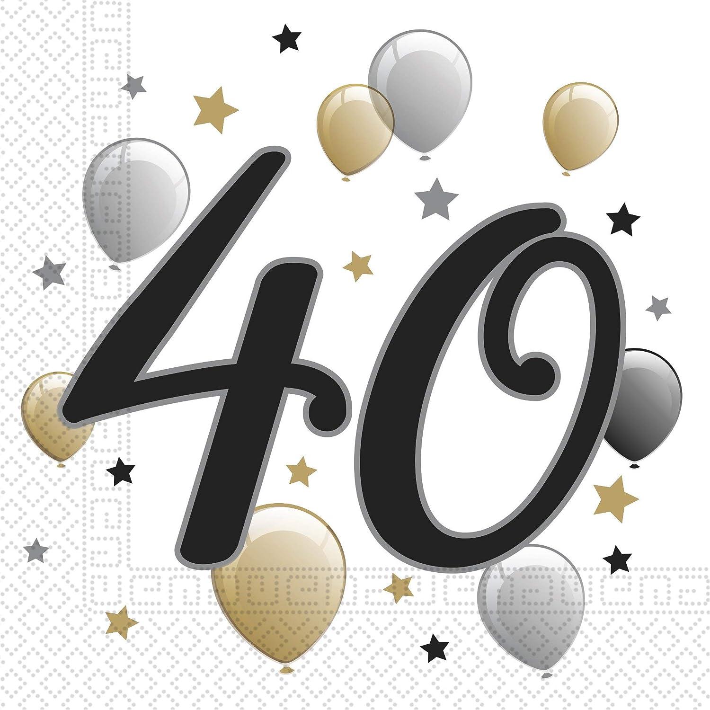 PROCOS Set de 20 servilletas 40 cumpleaños: Amazon.es ...