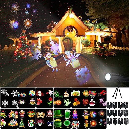 Decdeal Luces de Proyector LED de Navidad Portátil con 12 Patrones ...