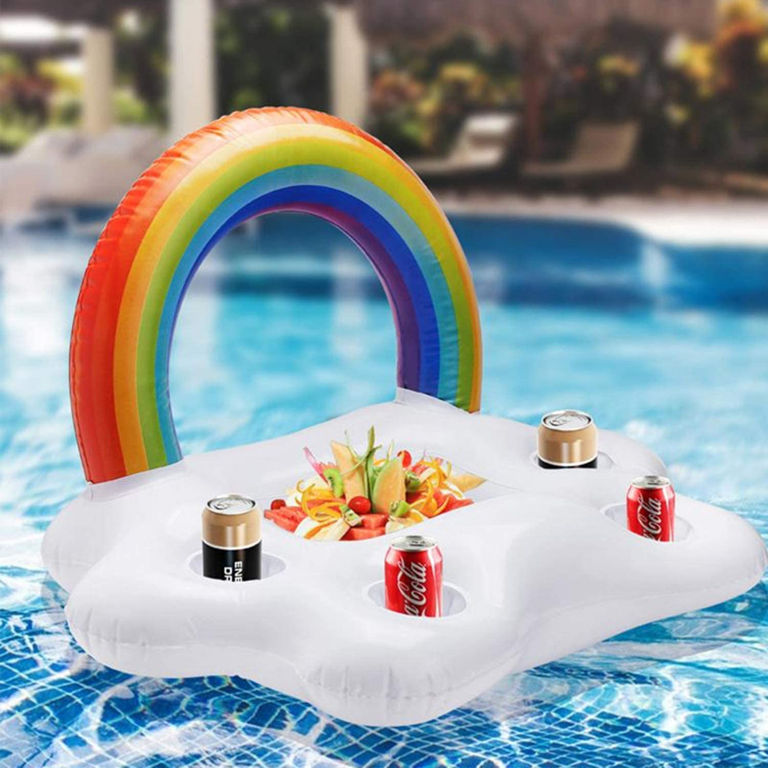 Boxgear Floating Bar for Pool, Inflatable Rainbow Cloud Drink Holder, Drink Float for Pool, Beverage Pool Floats Cooler, Inflatable Drink Holder for Pool, 5 Cup Holder Float for Kids and Adults