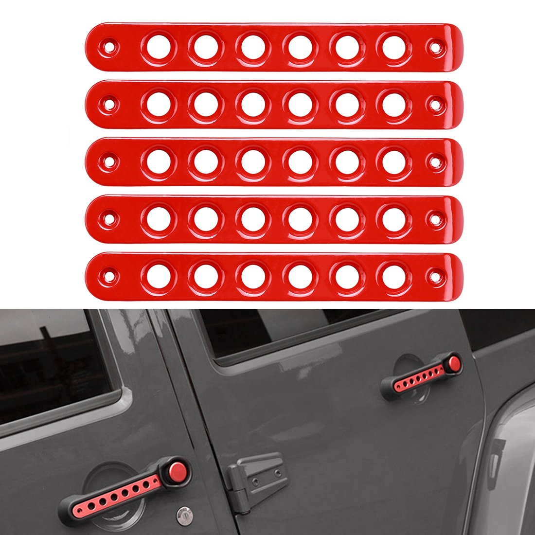 4 Door//Red SUPAREE Grab Handle Inserts Cover+Push Button Knobs Cover Trim for 2007-2017 Jeep Wrangler JK /& Unlimited