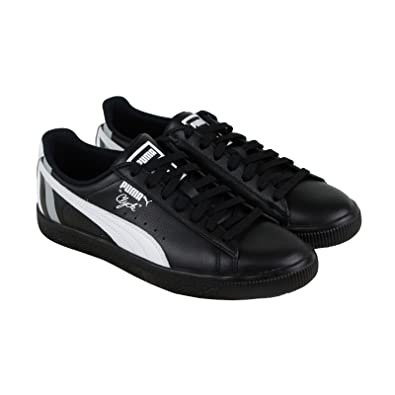detailed look 9b384 0e180 Amazon.com | PUMA Clyde Stripes Mens Black Leather Lace up ...
