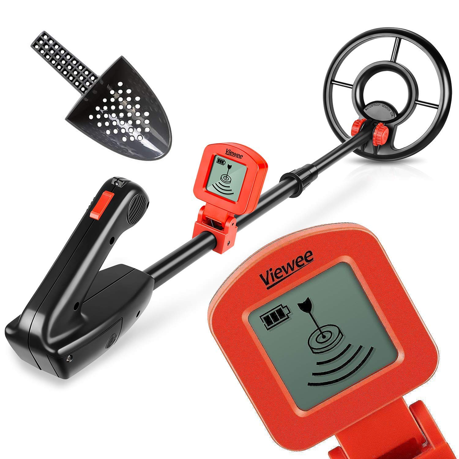 Viewee Lightweight Metal Detector With Waterproof Search Coil And Fun To Findcoins At The Beach Lcd Display Suitable For Junior Beginner Shovel As Family Leisure