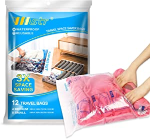 VMSTR 12 Travel Compression Bags, Roll-Up Space Saver Storage Bags for Travel, 8 Carry-on Sizes and 4 Suitcase Sizes