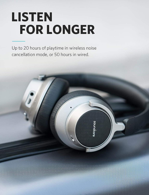 Anker Soundcore Space NC Cascos inalambricos, Auriculares inalambricos sin ruido, con control táctil, 20 horas de duración, Bluetooth 4.1, plegable para ...