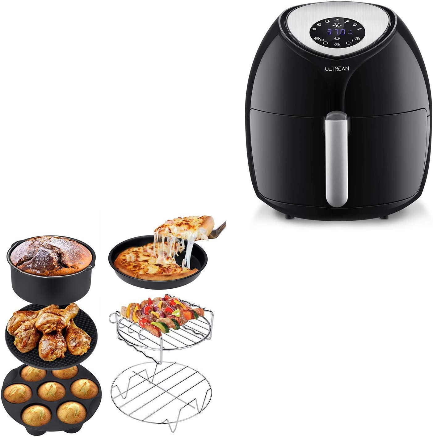 Ultrean 6 Quart Air Fryer, Large Family Size Electric Hot Air Fryers XL Oven Oilless Cooker and Air Fryer Accessories, Set of 6 Fit All 5.8Qt,6Qt Air Fryers, BPA Free, FDA Compliant, XL