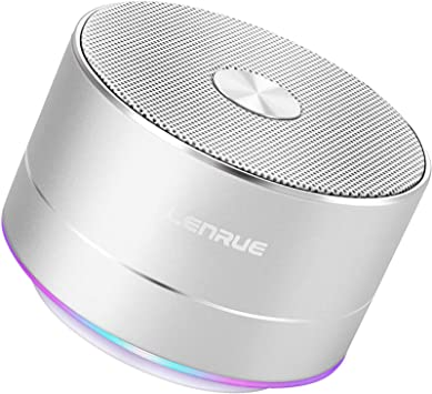 LENRUE Portable Wireless Bluetooth Speaker with Built-in-Mic,Handsfree Call,AUX Line,TF Card,HD Sound and Bass for iPhone Ipad Android Smartphone and More (Silver)