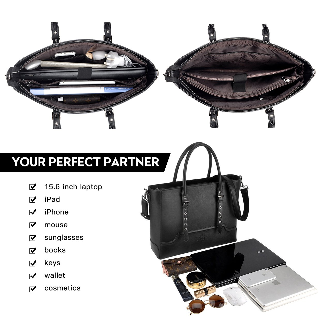 Laptop Tote Bag,15.6 Inch Laptop Bag Professional Briefcase for Women Sturdy Work Bags Multi-Compartment with Padded Lining by EaseGave
