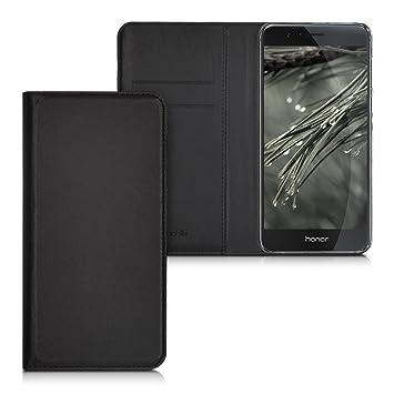 kwmobile Funda para Huawei Honor 8 / Honor 8 Premium - Carcasa para móvil de [Cuero sintético] - Case [Plegable] en [Negro]