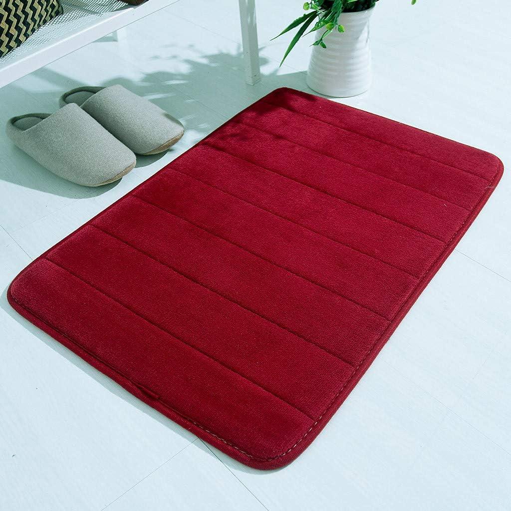 Tapis de bain en mousse /à m/émoire de forme sol de douche chambre /à coucher absorbant et doux tapis de salle de bain doux Red tapis de salle de bain