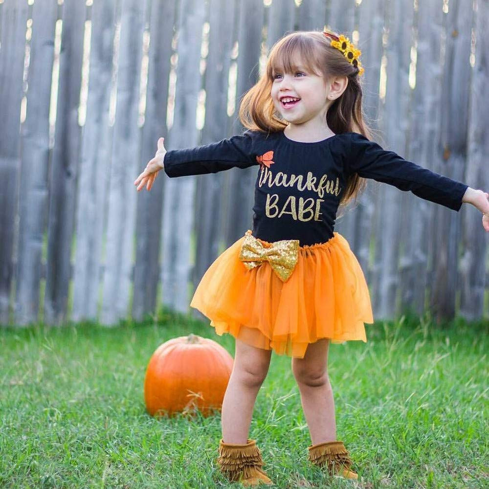 WensLTD Girls Thanksgiving Costumes Long Sleeve Letter Print Princess Dress Tutu Top Skirt