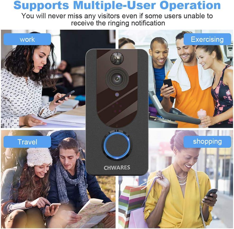 WiFi Cam/éra de Surveillance Audio bidirectionnelle Installation Autonome Simple Stockage cloud gratuit /Étanche 1080P HD Sonnette sans Fil Vid/éo avec cam/éra Vision nocturne