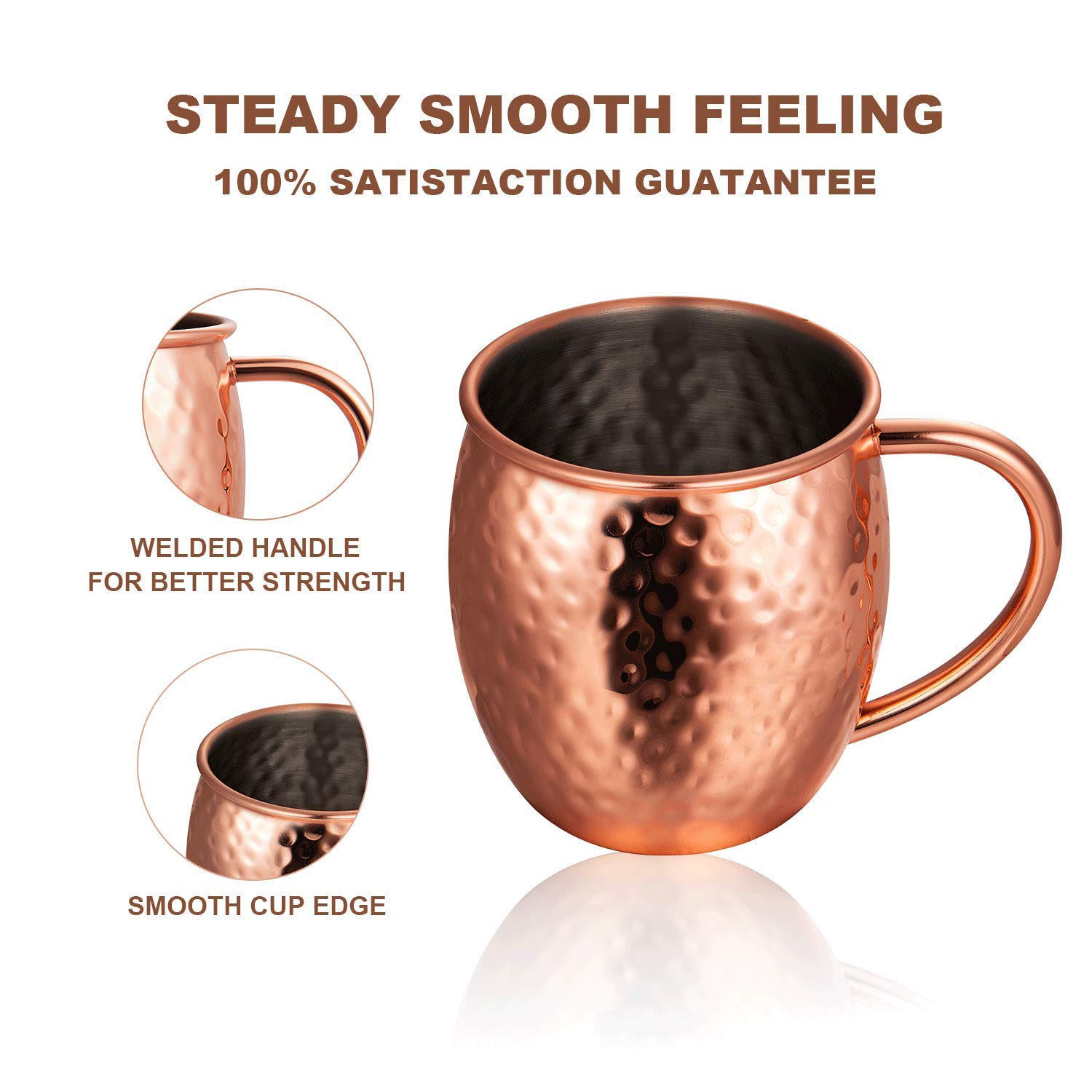 Deik Moscow Mule Copper Mugs, 100% Handcrafted Copper Mugs with Brass Handle, 16 Ounce Moscow Mule Mugs, Copper Cups, Mugs Sets of 4