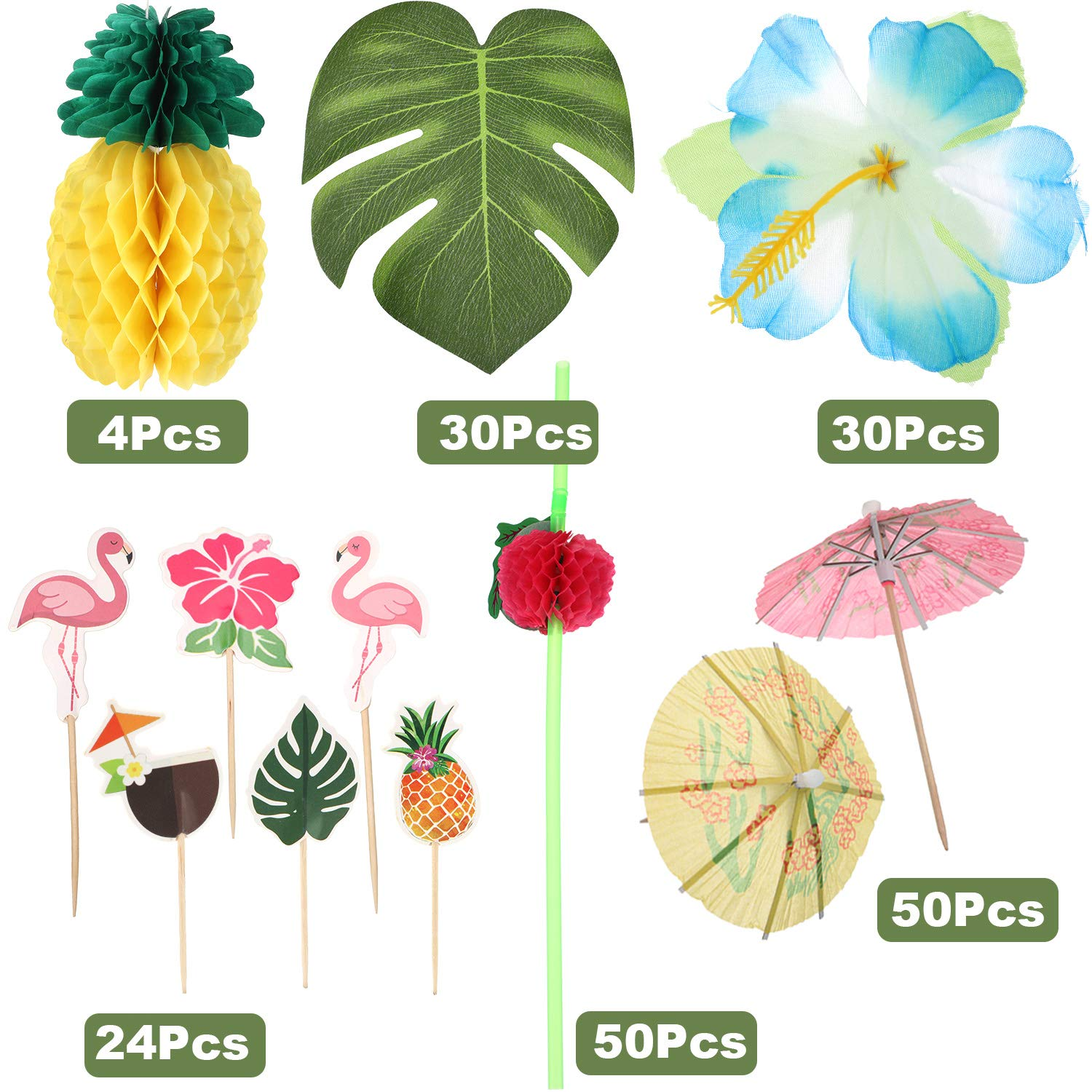 188 Pieces Hawaiian Luau Party Decorations,Include 30 Pieces Tropical Palm Leaves, 30 Pieces Hibiscus Flowers, 4 Pieces Paper Pineapples, 24 Pieces Cupcake Toppers, 50 Pieces 3D Fruit Straws, 50 Pieces Paper Umbrella by Zonon (Image #6)