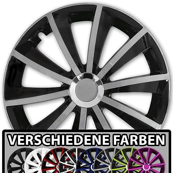 Farbe Und Größe Wählbar 15 Zoll Radkappen Gral Bicolor Schwarz Silber Passend Für Fast Alle Fahrzeugtypen Universal Auto
