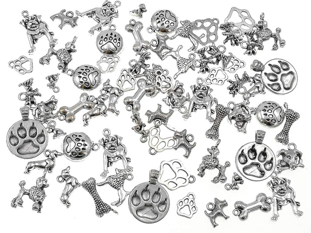 80pcs Dog Paw 80pcs Vintage Antique Silver Alloy Animal Bear/&Cat/&Dog Paw Charms Pendant Jewelry Findings for Jewelry Making Necklace Bracelet DIY 19x17mm
