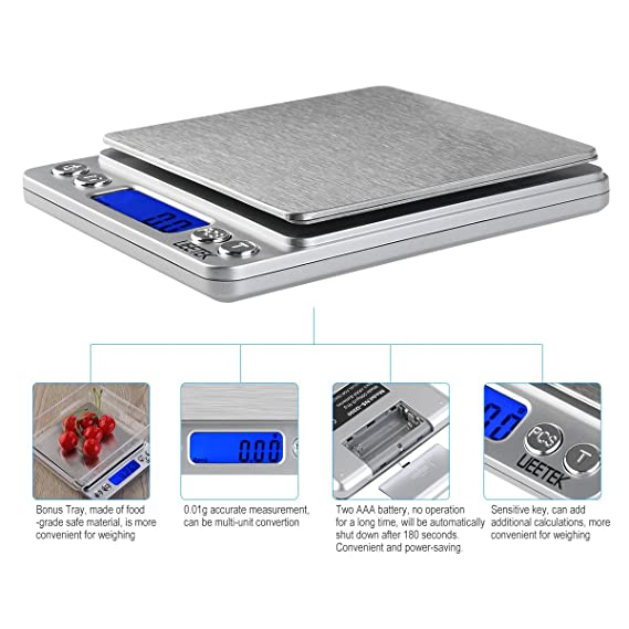 Amazon.com: UEETEK 500g/0.01g Digital Pocket Scale Digital Food Scale Jewelry Scale with LCD Screen: Kitchen & Dining