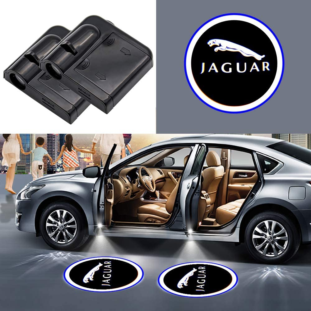2Pcs Car Door Welcome Light Wireless LED Ghost Shadow Projector Logo Light Car Door Courtesy Light Lamp Suitable For Jaguar All Models for Jaguar