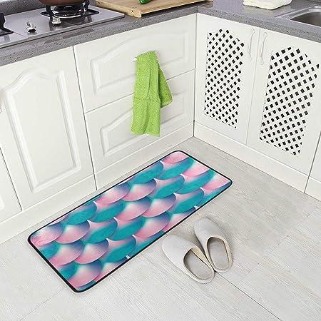 Image ofBLSYP Kitchen Rugs Runner Blue Pink Fish Tail Skin Mermaid Pattern Comfort Floor Mat Bath Mats Bed Desk Bathroom Area Rug Long Doormat Carpet Home Hotel