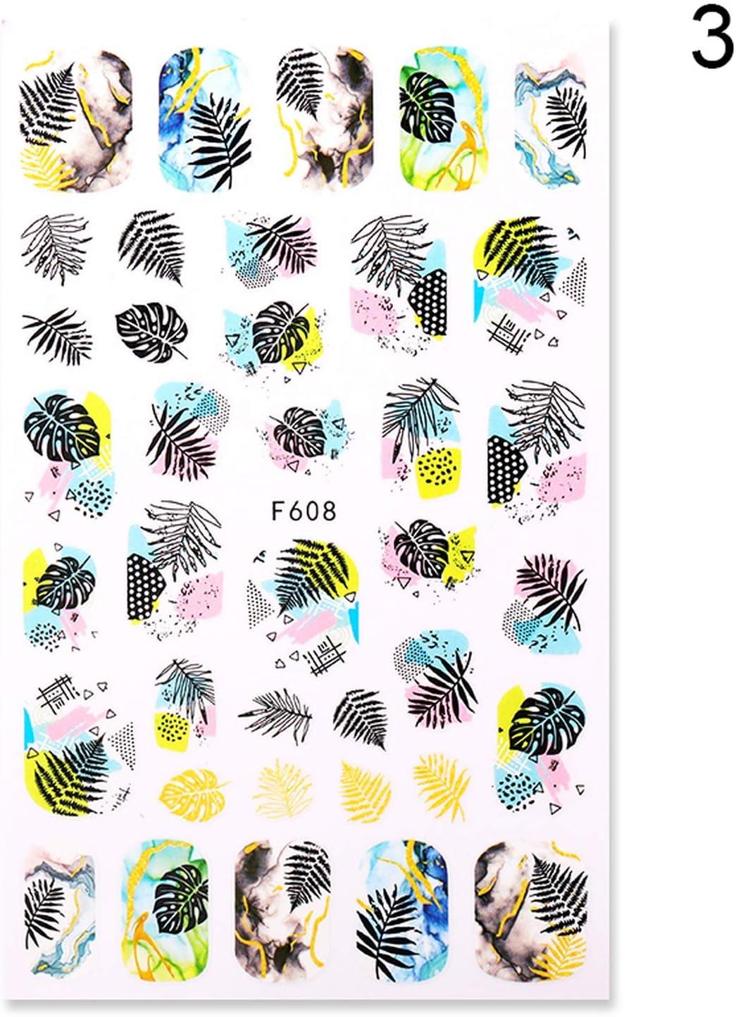 Accesorios para uñas Pegatinas Serie de flores Pegatinas de agua para uñas Pegatinas Sakura Daisy Lavender Floral Pattern Transfer Sticker Nail Art Decoration-6-,