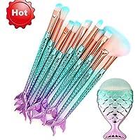 Ausexy 11PCS Make Up Foundation Eyebrow Eyeliner Blush Cosmetic Concealer Kit for Powder Liquid Cream Make Up Brush Set Mermaid Colorful