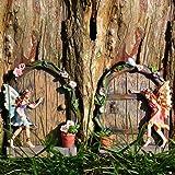 Pair of shabby chic cream wrought iron metal garden for Amazon uk fairy doors