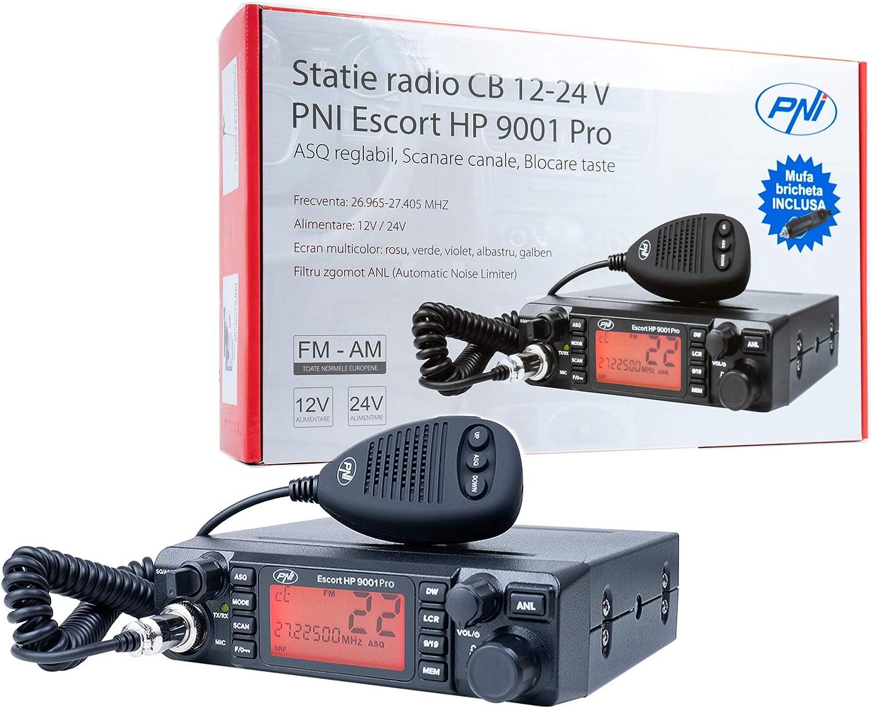 Radio CB PNI Escort HP 9001 Pro ASQ Ajustable, Am-FM, 12V / 24V, 4W, Escaneo, Reloj Dual, ANL, Pantalla Multicolor