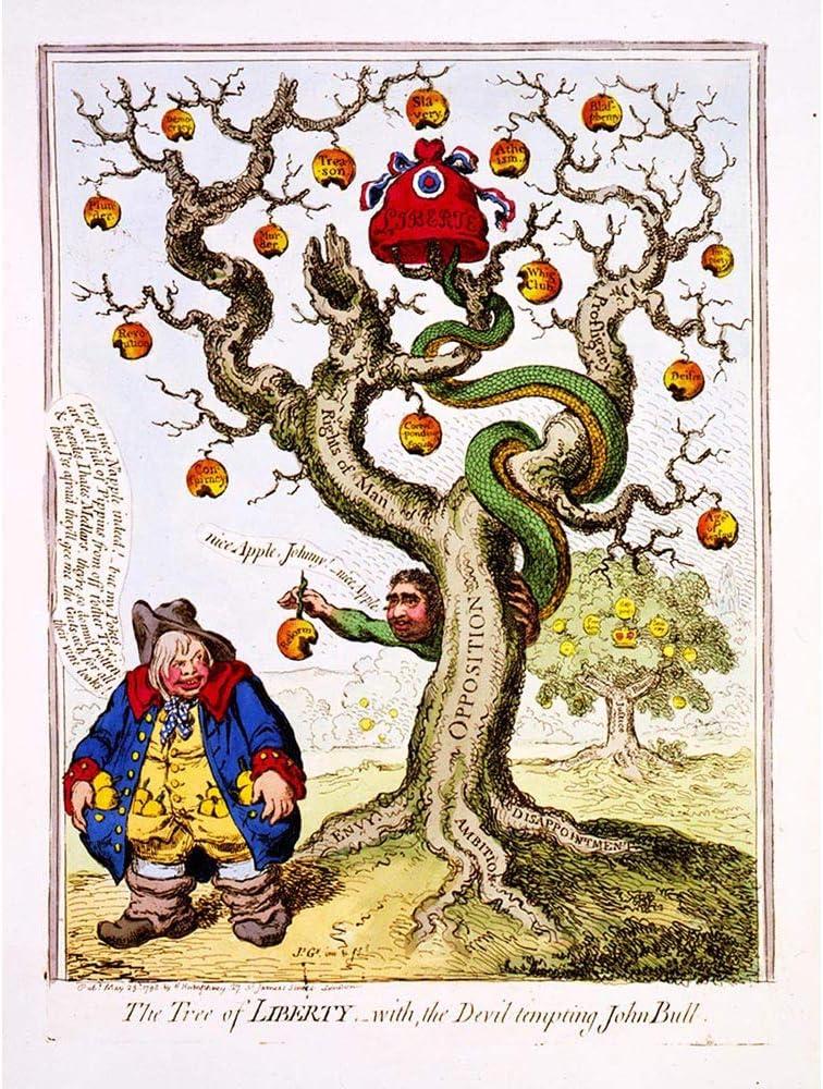 Painting Satire John Bull Satan French Revolution Apple Tree Unframed Wall Art Print Poster Home Decor Premium