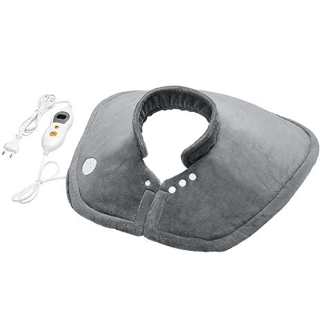 MARNUR Almohadilla eléctrica Cervical Hombros para alivio del dolor en cuello y hombros, con terapia por calentamiento rápido, con cierre magnético y ...