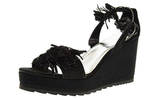 APEPAZZA scarpe donna sandali zeppa LCK05SUEDE LEA NERO