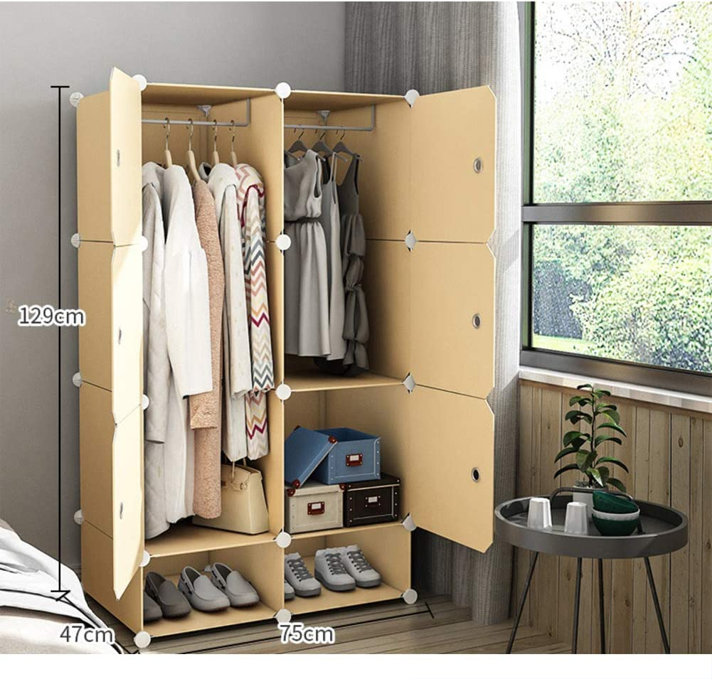 Xnxn Wardrobe Armoire Closets for Bedroom, Portable Resin Wood Pattern Armoire Modular Cabinet Dresser Cubby Shelving Unit for Hanging Clothes-e L30xw19xh51 Inch