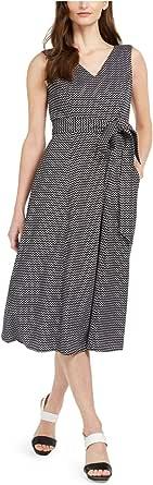 Calvin Klein Women's Sleeveless V Neck Midi Dress with Self Sash Waist