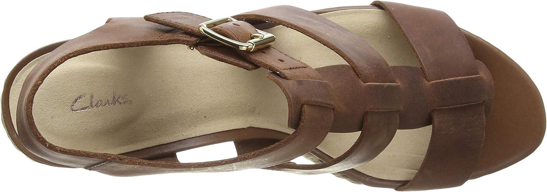 Clarks Maritsa95 Glad, Sandalias de Talón Abierto para Mujer Marrón Tan Leather Tan Leather