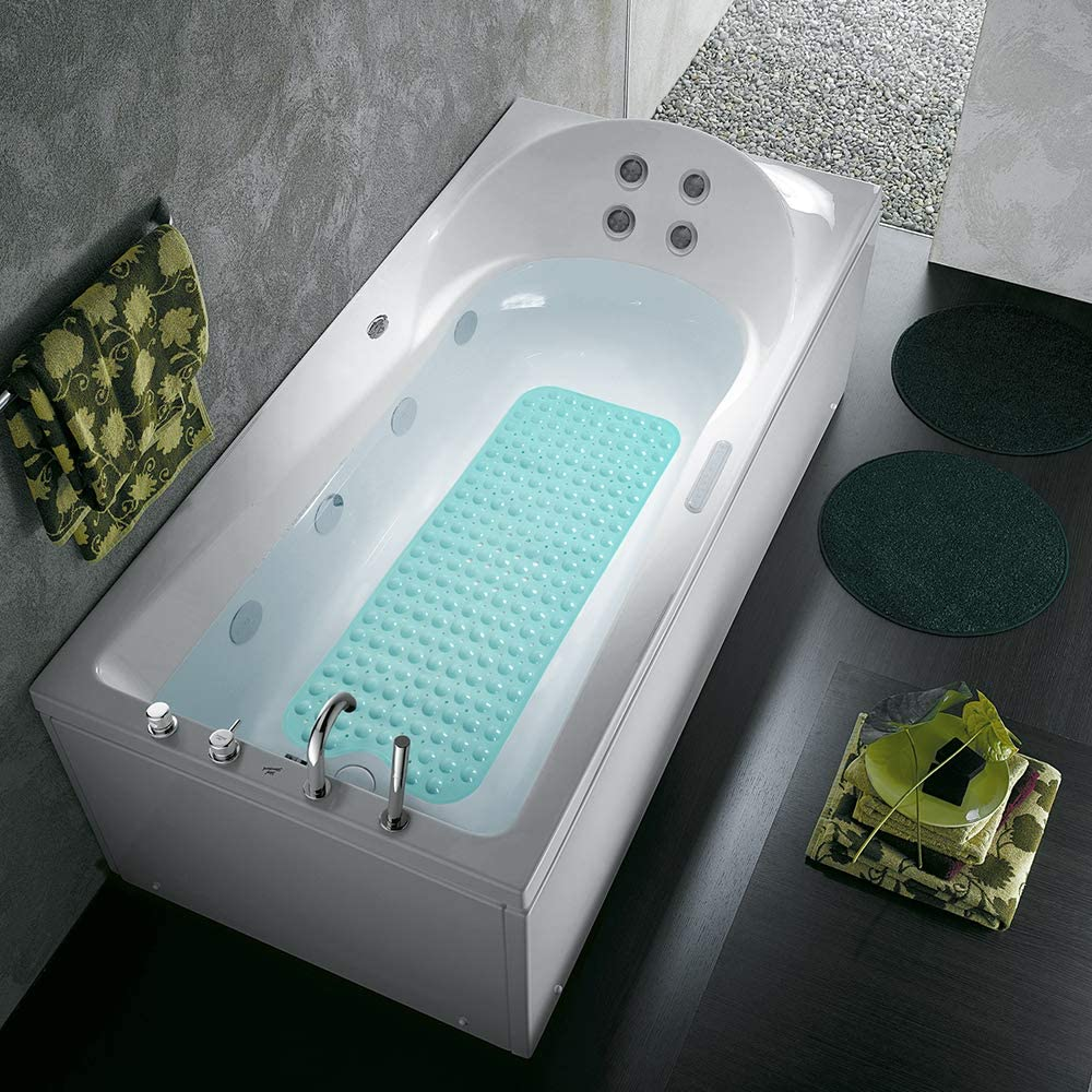 "COMUSTER Bathtub and Shower Mats, Extra Long Non-Slip Bath Mat (39"" x 16""), Machine Washable Bath Tub Mat for Bathroom (Aqua Blue): Home & Kitchen"