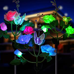 Solar Garden Lights Outdoor, 3 Pack OxyLED Figurine Stake Light, Color Changing Decorative Landscape Lights, Waterproof LED Solar Powered Rose Flower Lights for Patio Yard Pathway Walkway Christmas