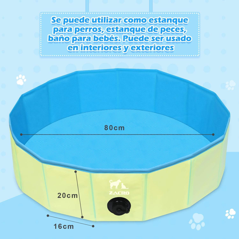Zacro Piscina Plegable para Perros para Niños/Mascotas Perros/Gatos Piscina Infantil para Perros Piscina con PVC Antideslizante Resistente al Desgaste (80 cm x 20 cm) - Azul Claro y Amarillo: Amazon.es: Productos para
