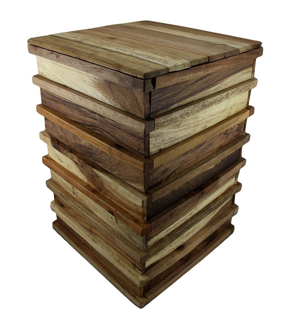 Wood Plant Stands Stacked Recycled Acacia Wood Accent Stool/Plant Stand 13.25 X 19.5 X 13.25 Inches Brown Model # 29802 by Zeckos