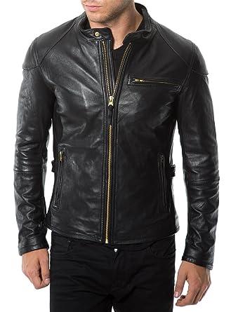 7359649a5 Mens Jacket Slim Fit Biker Motorcycle Genuine Cow Leather Jacket ...