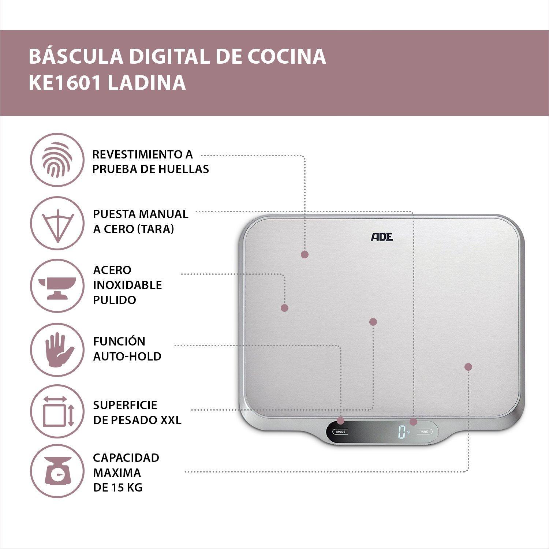 ADE Báscula digital de cocina KE1601 Ladina. Superficie XXL acero inoxidable.15 kg. Tara Auto-Hold. Incluye Baterias. Color plata: Amazon.es: Hogar