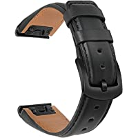 TRUMiRR Watchband for Fenix 6/6 Pro/6 Sapphire/5/5 Plus, 22mm Quick Release Easy Fit Watch Band Genuine Cowhide Leather…