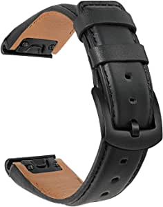 TRUMiRR Watchband for Fenix 6/6 Pro/6 Sapphire/5/5 Plus, 22mm Quick Release Easy Fit Watch Band Genuine Cowhide Leather Strap Sports Wristband for Garmin Instinct/Forerunner 935/945