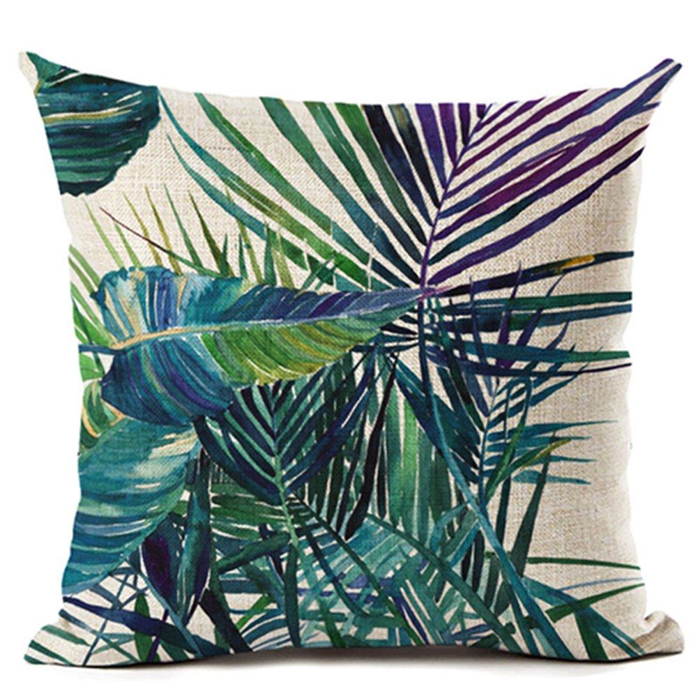 Taille unique Lin Zhouba Housse de coussin en lin Motif feuillage tropical Vert 1 Bird With Green Leaves