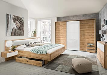 lifestyle4living Schlafzimmer Komplett Set in Eiche-Dekor und weiß ...
