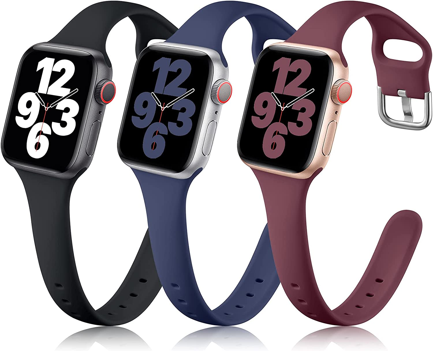 Getino Compatible with Apple Watch Band 40mm 38mm for Women Men iWatch Sport Band Series SE 6 5 4 3 2 1, Soft Slim Flexible Silicone Replacement Strap 3 Pack, Black/ Navy/ Wine